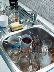 Dirty dishes left in a sink by employees
